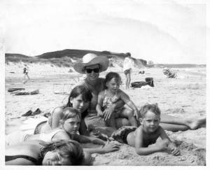 All five of us with our Mom on Mansion Beach in 1965