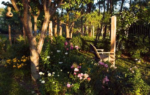 This flower bed borders the vegetable garden. A great place to enjoy morning tea.